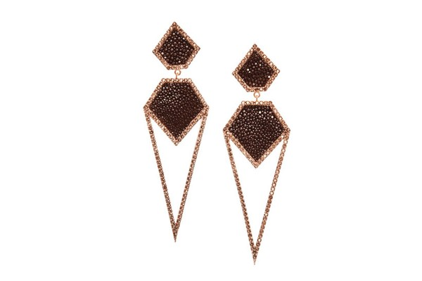 CARA silver earrings with smoky quartz and stingray leather brown @a-cuckoo-moment