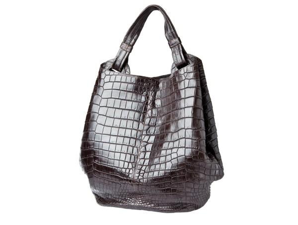 Handbag CARMEN crocodile leather brown