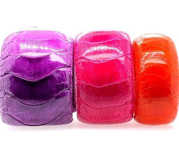 3 Armreifen aus Straußenbein Leder - lila, pink, orange @a-cuckoo-moment