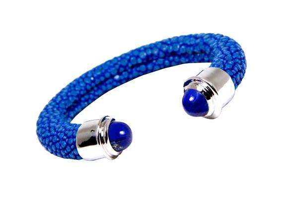 Tango Armreif mit Silberkappe und Lapis Lazuli