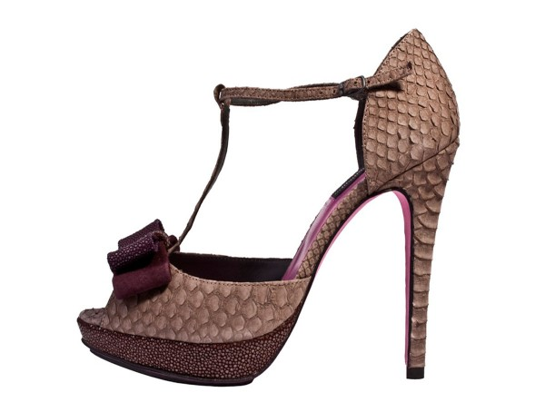 Paris - High Heels Python mushroom with a loop made of stingray in purple, brown ,bordeuax