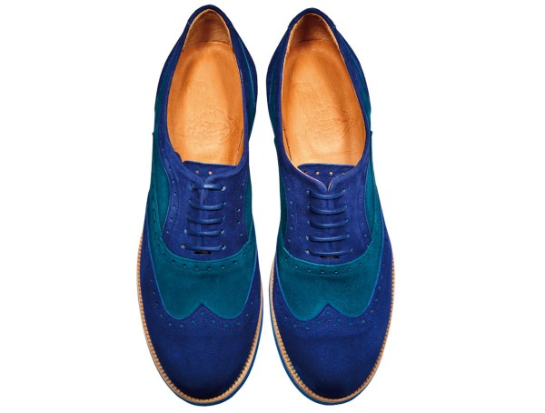 Jive - Lace-up Brogues Women handmade Shoes from premium suede leather, petrol-blue