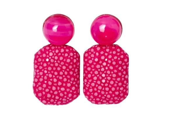 Gracy - Ohrringe mit pink farbenem Ahat und Rochenleder, Silber Ohrstecker
