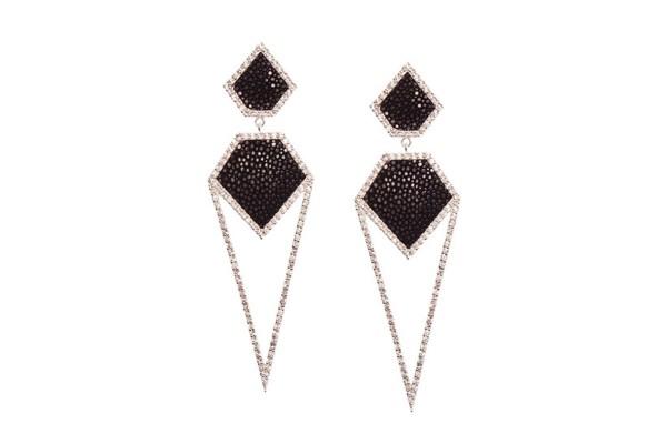 CARA Silber Ohrringe mit weißem Topaz + Rochenleder schwarz