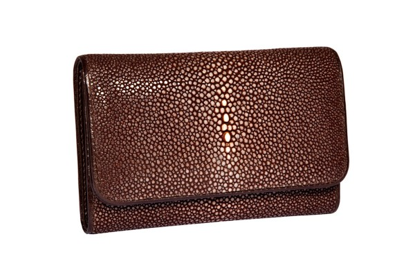 Purse made of stingray leather brown