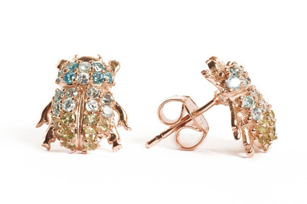 Scarab earrings with gemstones pink gold plated a-cuckoo-moment