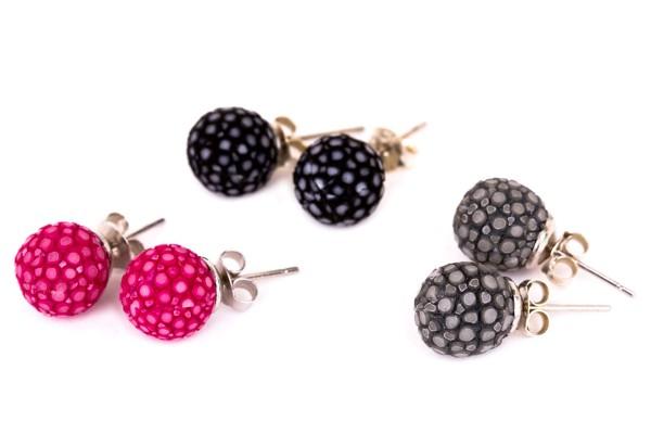 Katy - Ohrringe aus Rochenleder mit Silber Stecker