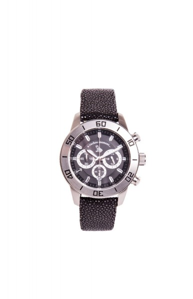 Chronograph Uhr aus silbernem Edelstahl und schwarzem Zifferblatt