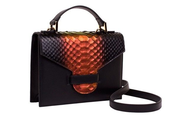 Suzy small cross body suitcase bag made of nappa leather black and handpainted python in dramatic blossom metallic