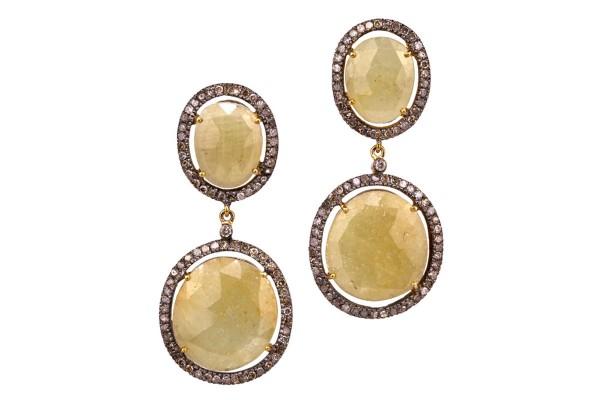 Saphira Saphir Ohrringe mit Diamanten