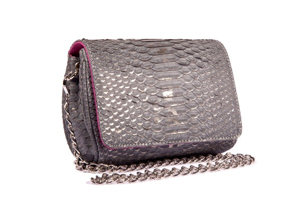 Bonnie small cross body bag made of python leather in grey metallic a-cuckoo-moment