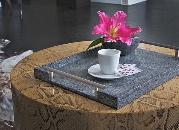Serving tray covered with stingray leather and stainless steel handles black-grey @a-cuckoo-moment
