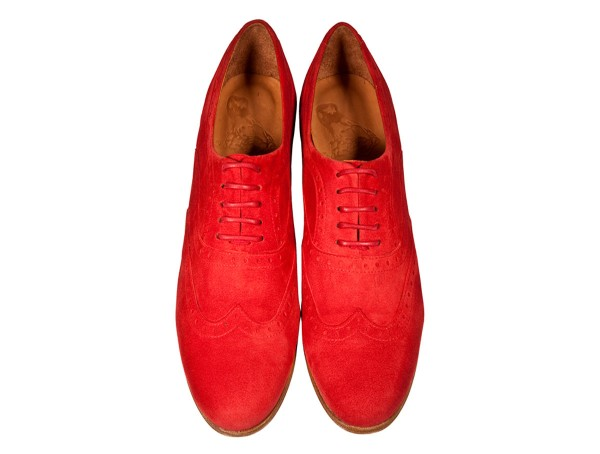 Jive - Lace-up Brogues Women handmade Shoes from premium suede leather, red