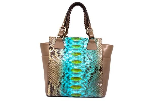 Tyra Handtasche Pythonleder handbemalt blue lagoon khaki Shopper a-cuckoo-moment