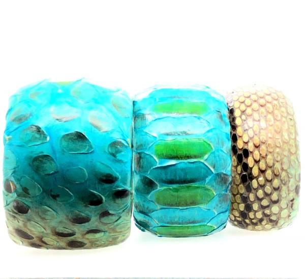 SAMBA hand-painted python bangle blue lagoon flexible @a-cuckoo-moment