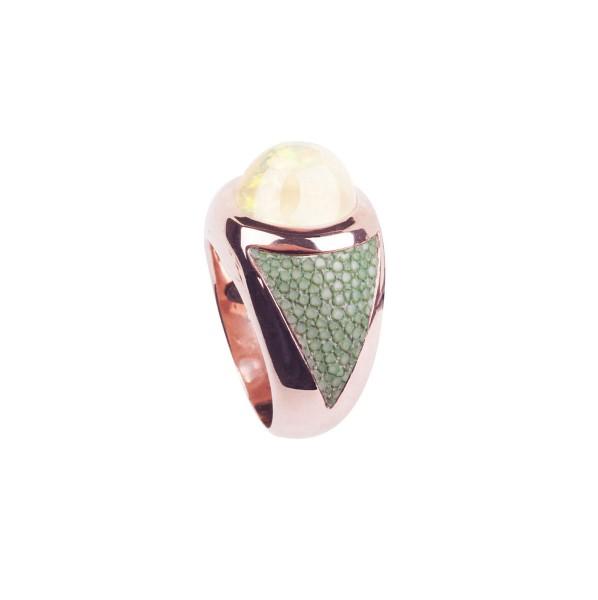 SUNRISE Silberring mit äthiopischem Opal und Rochenleder celadon