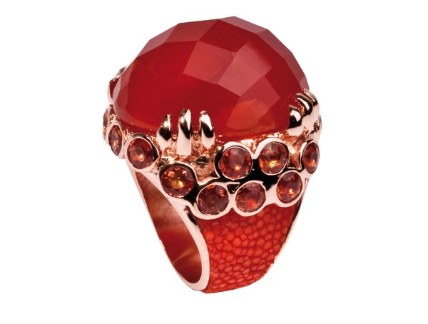 Margarita- Ring with big carnelian , orange sapphires and shagreen @a-cuckoo-moment
