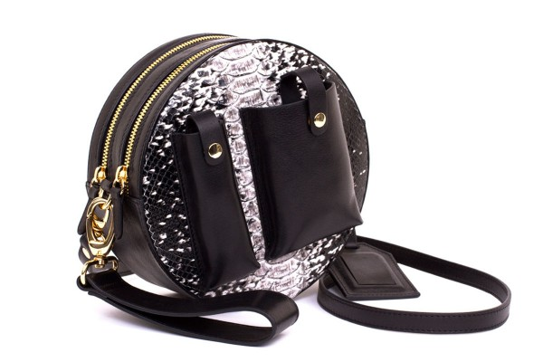 YUNA cross body bag black white python