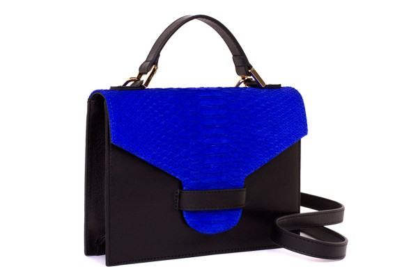 Suzy small cross body suitcase bag made of nappa leather black and python in royal blue matt