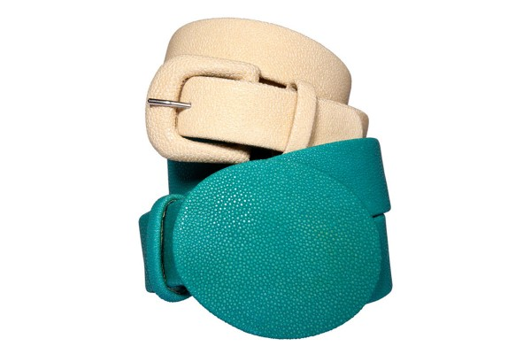 Belt in stingray leather 40 m wide turquoise oval buckle @a-cuckoo-moment