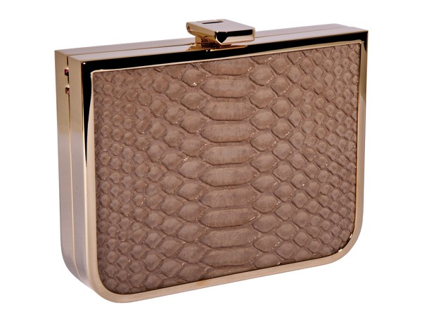 Scarlett Mini Clutch Gold Leder beige
