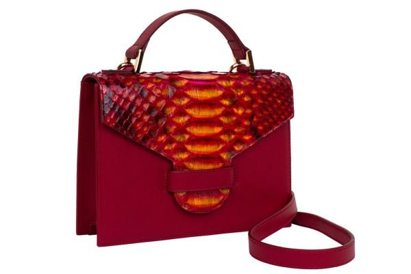 Suzy kleine cross body Koffer Tasche aus Nappa rot und Python lava