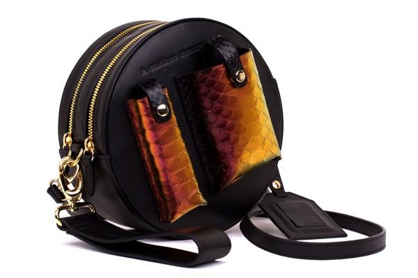 Yuna round shoulder bag Python black dramatic lilac