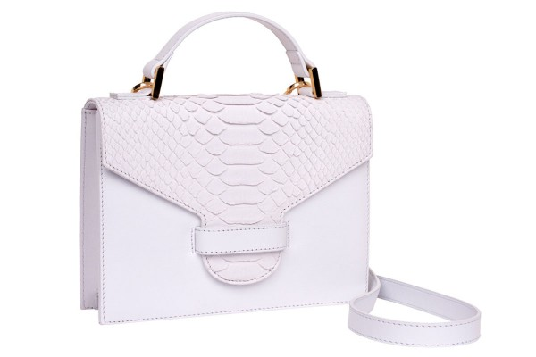 Suzy small cross body suitcase bag made of nappa leather white and python in white