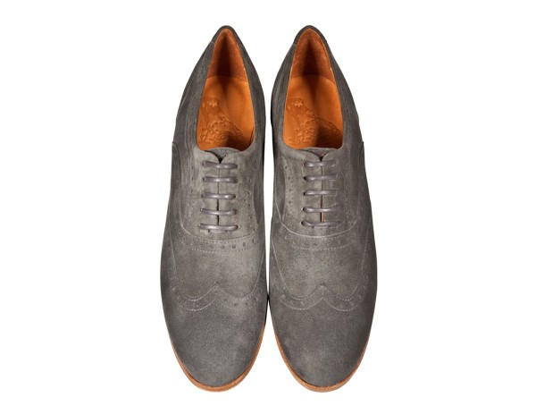 Jive - Lace-up Brogues Women handmade Shoes from premium suede leather, grey