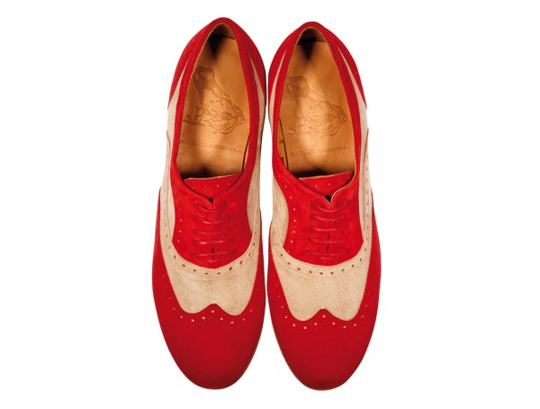 Jive - Lace-up Brogues Women handmade Shoes from premium suede leather, red beige