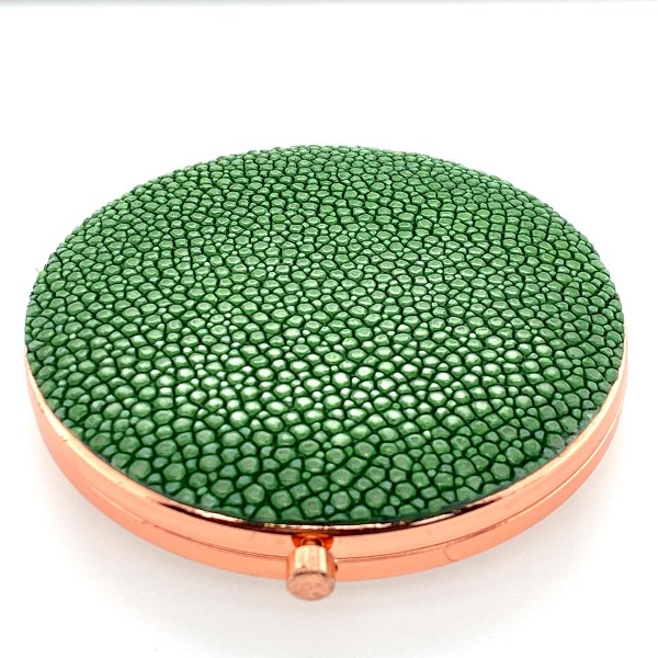 Pocket mirror with Shagreen pink golden sapin green back a-cuckoo-moment