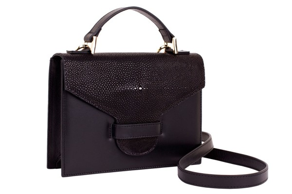 Suzy small cross body bag in black napa and stingray leather
