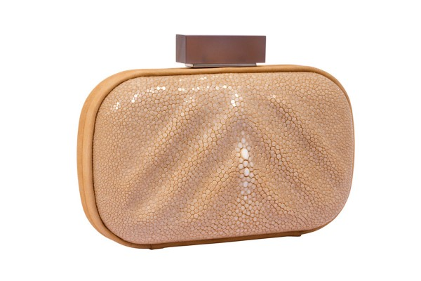 Wanda clutch made of stingray leather with moonstone clasp