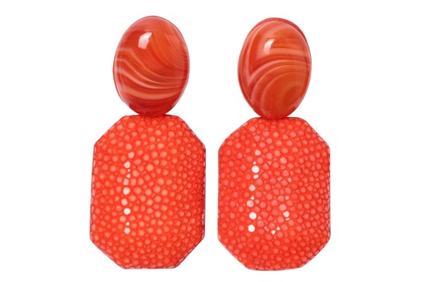 Grace - earrings made of stingray leather tangerine with carnelian gemstones