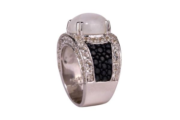 Kir Royal Silberring mit Regenboden Mondstein und Rochenleder schwarz