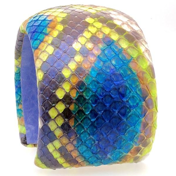 Samba 50 flexibler Armreif aus Psythonschlange handbemal peacock @a-cuckoo-moment