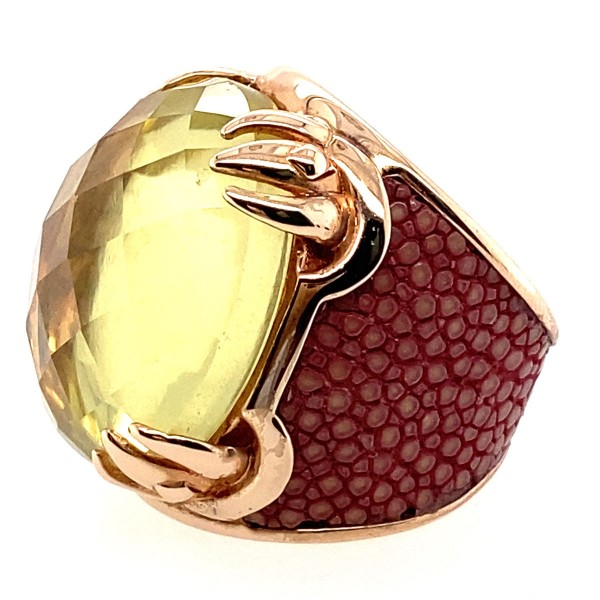 Silver ring gold plated with large faceted lemon quartz and stingray leather in tan @a-cuckoo-moment