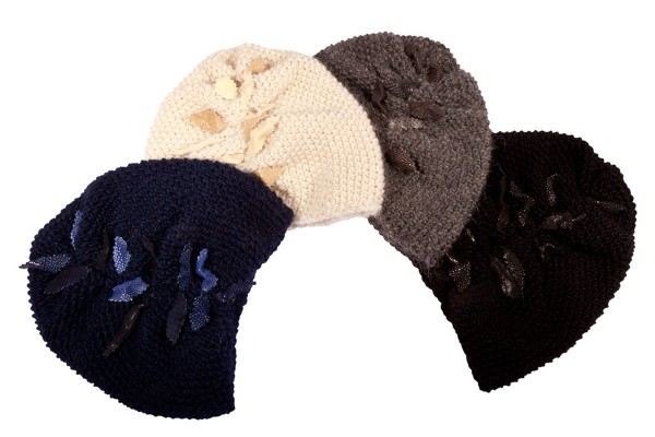 Beanie- hand-knitted wool turban cap with stingray leather and python leaves