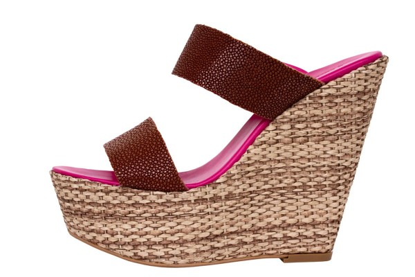 Luisa Wedges Sandals with stingray leather tan