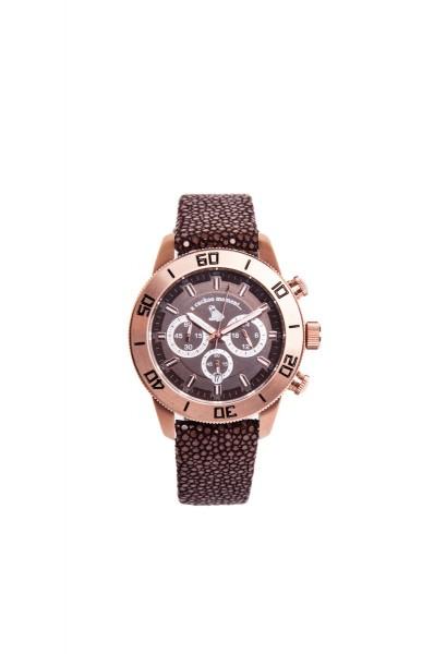 Chronograph Uhr aus rosévergoldetem Edelstahl und braunem Zifferblatt