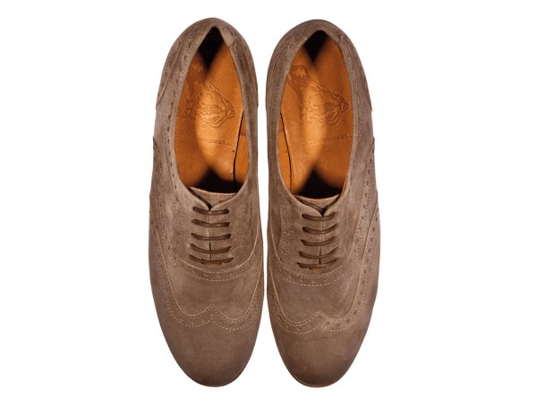 Jive - Lace-up Brogues Women handmade Shoes from premium suede leather, sand