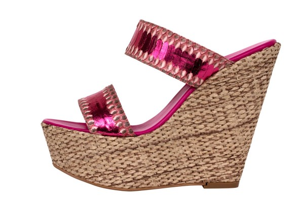 Wedge Sandale aus Schlangeleder in der Farbe berry-sunset