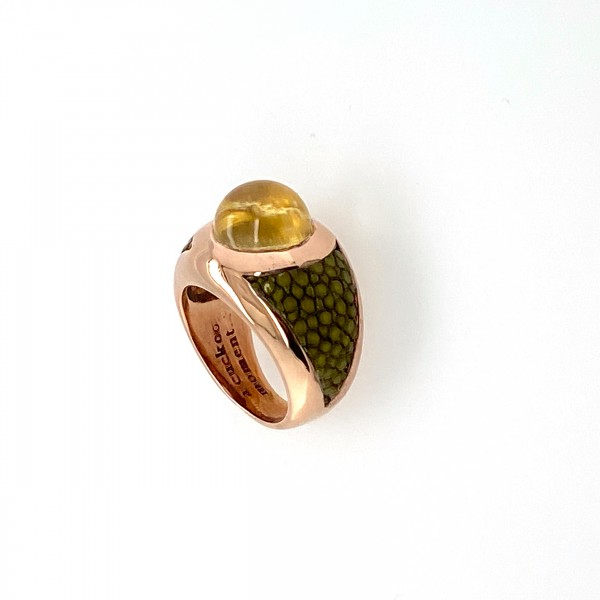 Sunrise - Sterling Silver ring pink gold plated with lemonquartz and stingray leather in many colors a-cuckoo-moment