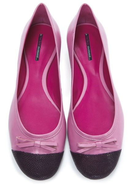 Pink Ballerinas made of finest calf leather with stingray in purple - a cuckoo moment