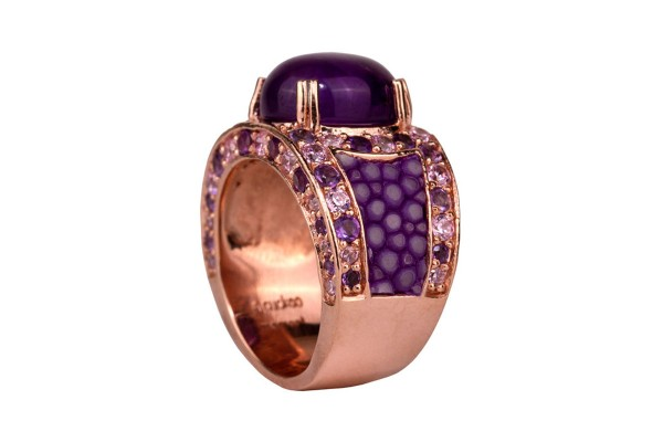 Kir Royal silverring with amethysts and stingray leather in lavender
