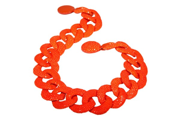 Lucia - Link chain made of stingray leather tangerine a-cuckoo-moment