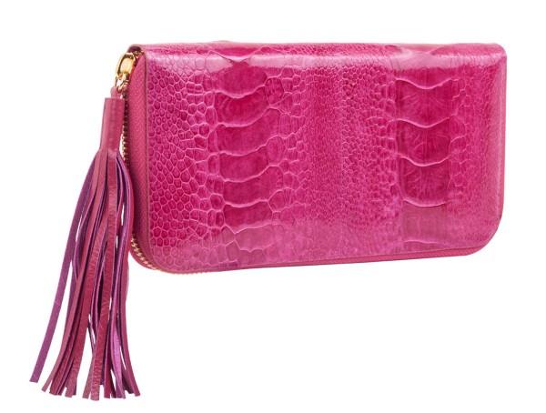 Jolie Portemonnaie aus Straußenbeinleder fuchsia