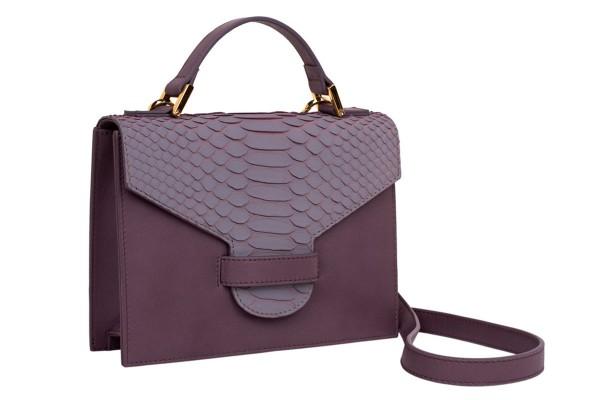 Suzy kleine cross body Koffer Tasche aus Nappa grey und Python in grey blush
