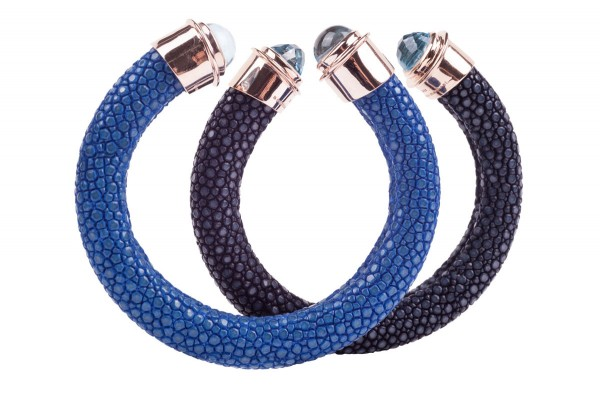 Tango bangles in stingray leather royal blue and navy with gold plated silver cap with blue topaz cabochon and cabochon facet @a-cuckoo-moment