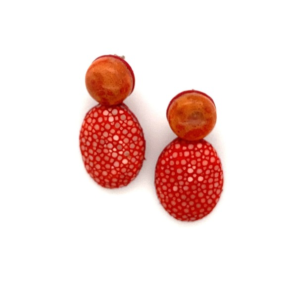 Lizzy small stingray earrings colar coral and real coral @a-cuckoo-moment